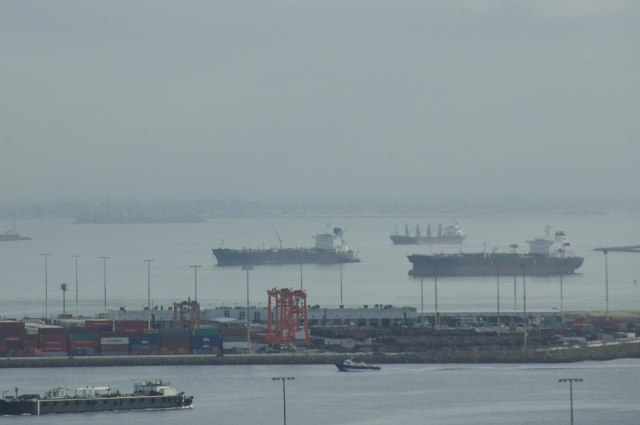 Cargo ships at the Port of Los Angeles