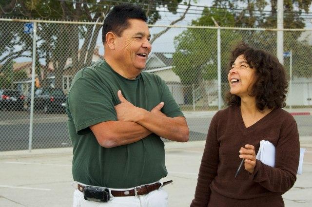 Francisco Vargas and Alicia Rivera at the Warren E & P drilling site in Wilmington