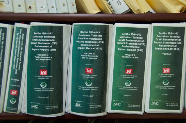 The bookshelves at the offices of Coalition for a Safe Environment.