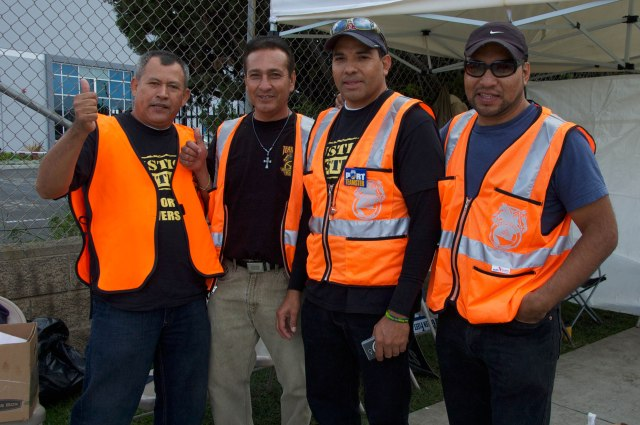 Truck drivers taking a break from the picket line (names withheld by request)