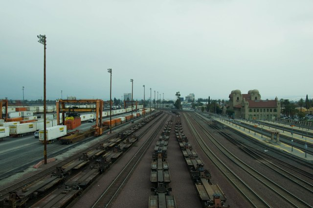 Railroads cary cargo inland from the ports